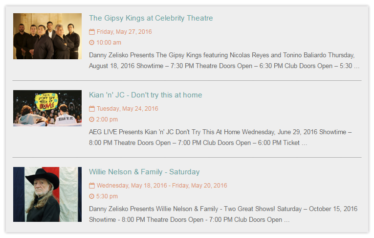 Facebook Events Calendar - Events List