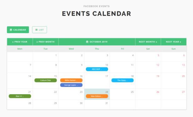 Facebook Event Calendar